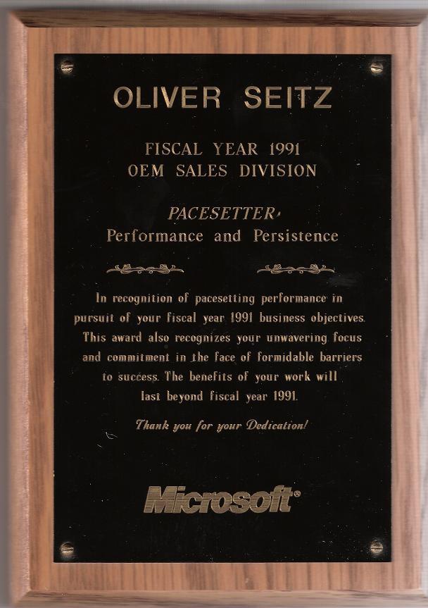 Microsoft Pacesetter Award FY 1991